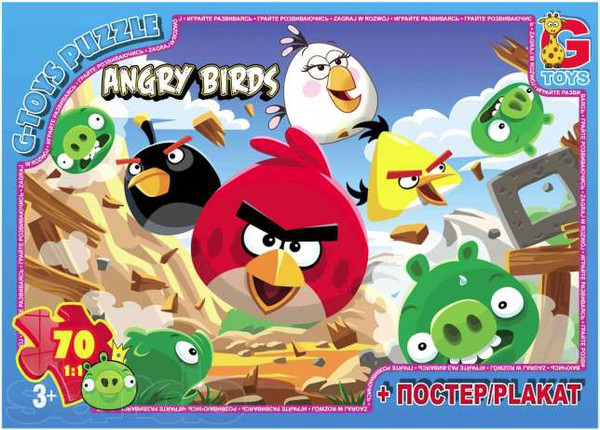 Пазлы серии Angry Birds. Пазлы Робокар Полли 35 элементов GToys.