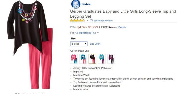 Gerber Graduates Baby Girls Pearl Chic Long Sleeve Top and Legging Set Pant Sets